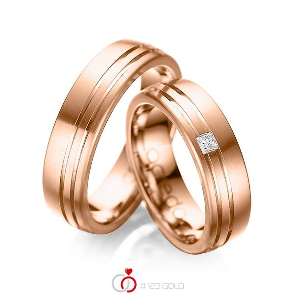 Set Klassieke trouwringen in buiten roodgoud 14 kt. , binnen roodgoud 14 kt. met in totaal 0,05 ct. Princess-Diamant tw/si van acredo - A-1040-6