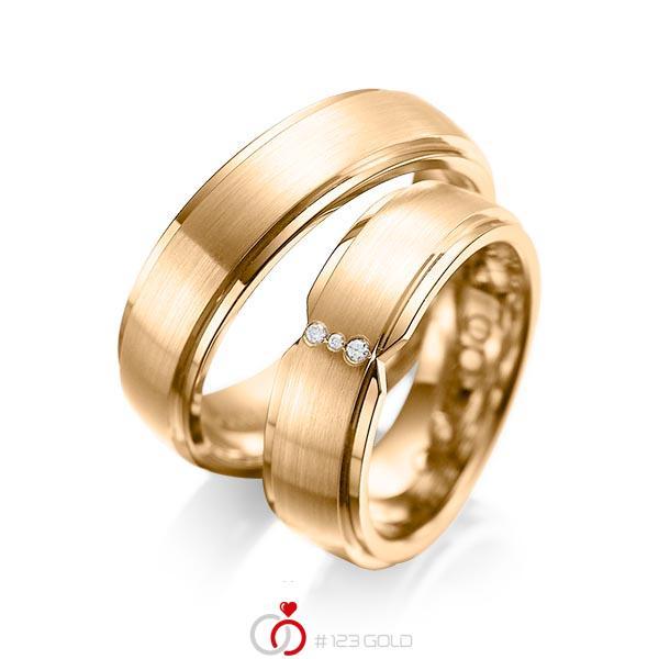 Set Klassieke trouwringen in buiten roségoud 14 kt. , binnen roségoud 14 kt. met in totaal 0,025 ct. Briljant tw/si van acredo - A-1063-9