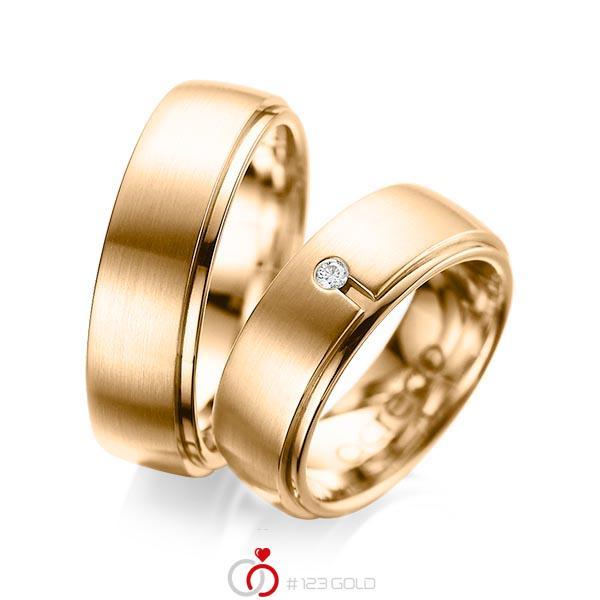 Set Klassieke trouwringen in buiten roségoud 14 kt. , binnen roségoud 14 kt. met in totaal 0,03 ct. Briljant tw/si van acredo - A-1090-9