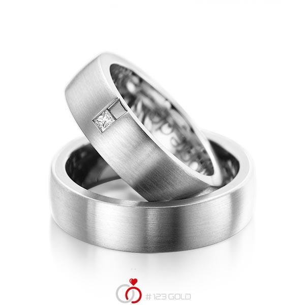 Set klassieke trouwringen in buiten witgoud 14 kt. , binnen witgoud 14 kt. met in totaal 0,06 ct. Princess-Diamant tw/si van acredo - A-1091-8
