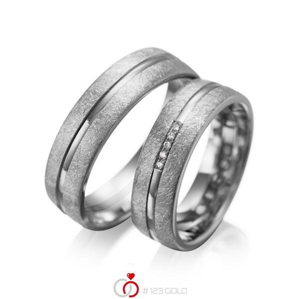 Set Klassieke trouwringen in dark grey gold 14 kt. met in totaal 0,025 ct. Briljant tw/si van acredo - A-1007-12
