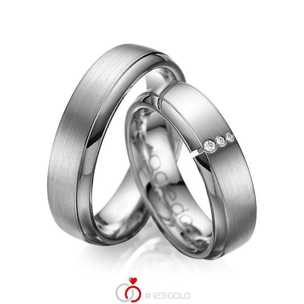Set Klassieke trouwringen in dark grey gold 14 kt. met in totaal 0,03 ct. Briljant tw/si van acredo - A-1067-11