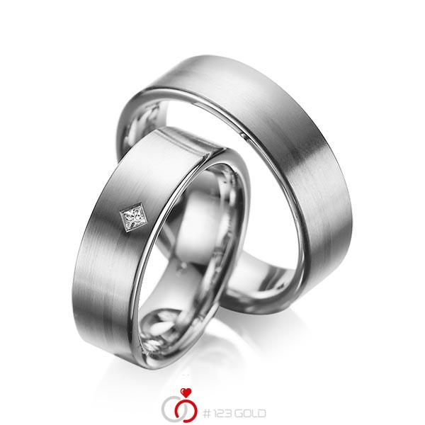 Set klassieke trouwringen in dark grey gold 14 kt. met in totaal 0,03 ct. Princess-Diamant tw/si van acredo - A-1060-5