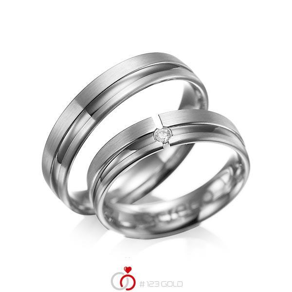 Set Klassieke trouwringen in dark grey gold 14 kt. met in totaal 0,04 ct. Briljant tw/si van acredo - A-1047-5
