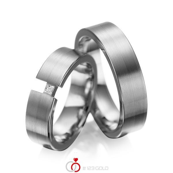 Set klassieke trouwringen in dark grey gold 14 kt. met in totaal 0,05 ct. Princess-Diamant tw/si van acredo - A-1025-14