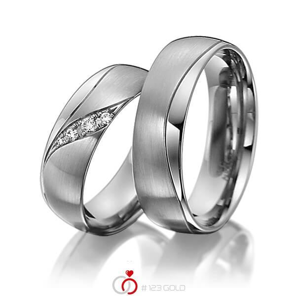 Set Klassieke trouwringen in dark grey gold 14 kt. met in totaal 0,06 ct. Briljant tw/si van acredo - A-3011-5