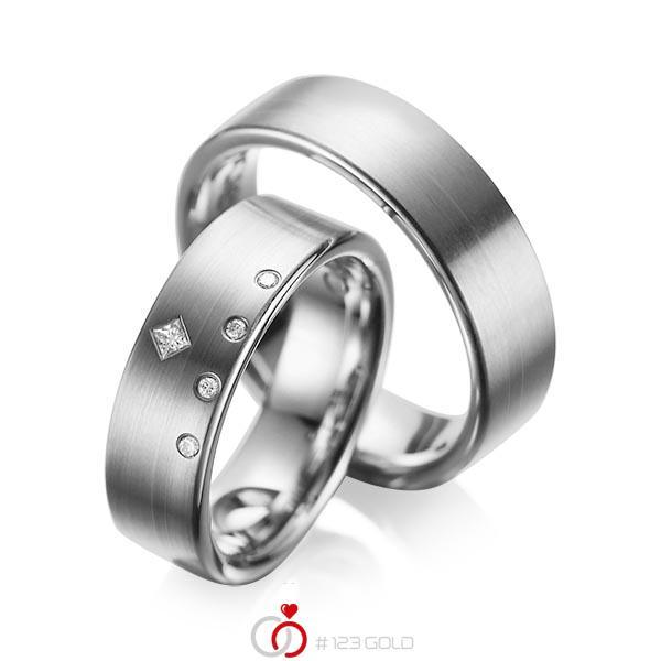 Set klassieke trouwringen in dark grey gold 14 kt. met in totaal 0,07 ct. Briljant & Princess-Diamant tw/si tw,vs van acredo - A-1038-6