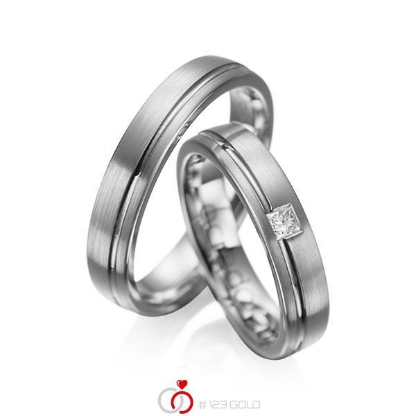 Set Klassieke trouwringen in dark grey gold 14 kt. met in totaal 0,08 ct. Princess-Diamant tw/si van acredo - A-1018-11