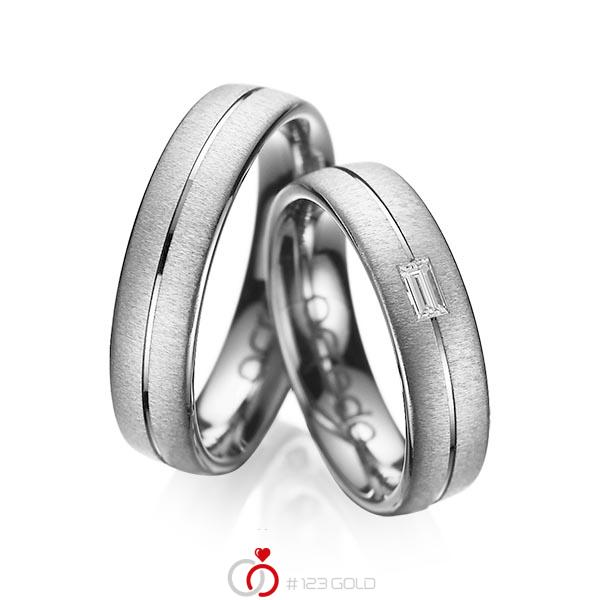 Set Klassieke trouwringen in dark grey gold 14 kt. met in totaal 0,12 ct. Baguette-Diamant tw,vs van acredo - A-1019-11