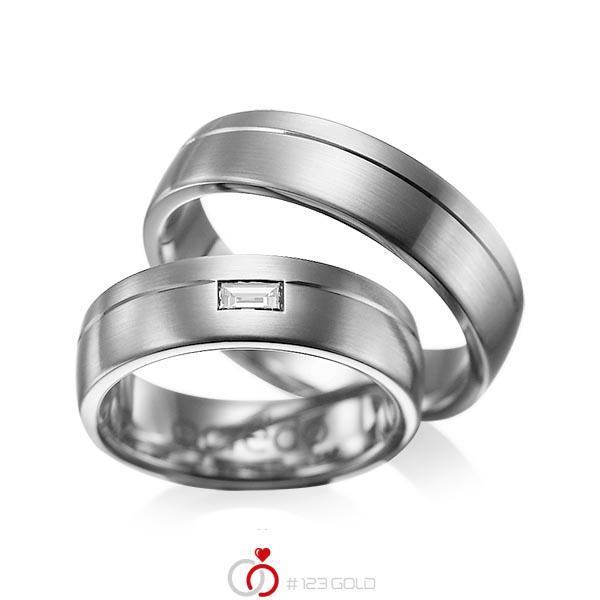 Set Klassieke trouwringen in dark grey gold 14 kt. met in totaal 0,15 ct. Baguette-Diamant tw,vs van acredo - A-1009-5