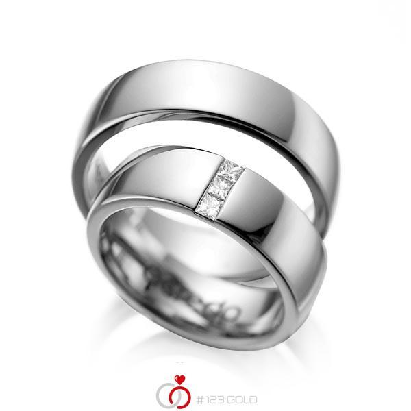 Set klassieke trouwringen in dark grey gold 14 kt. met in totaal 0,15 ct. Princess-Diamant tw/si van acredo - A-1056-2