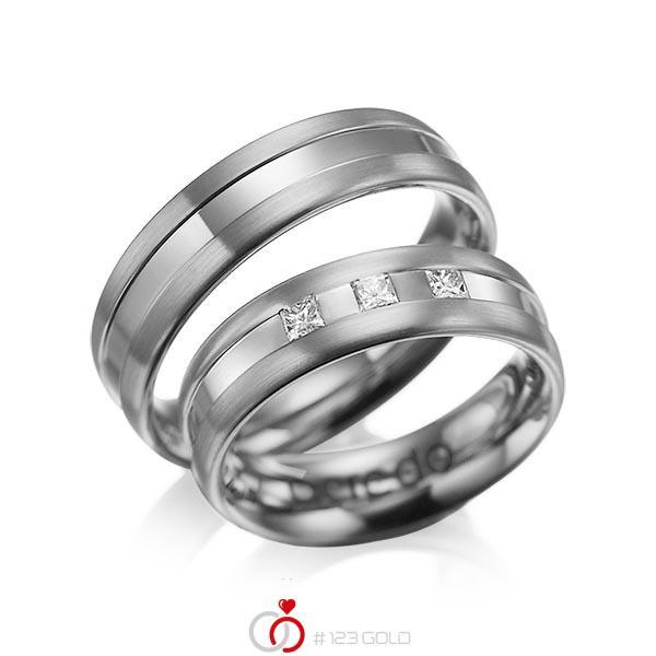 Set Klassieke trouwringen in dark grey gold 14 kt. met in totaal 0,18 ct. Princess-Diamant tw/si van acredo - A-1021-6