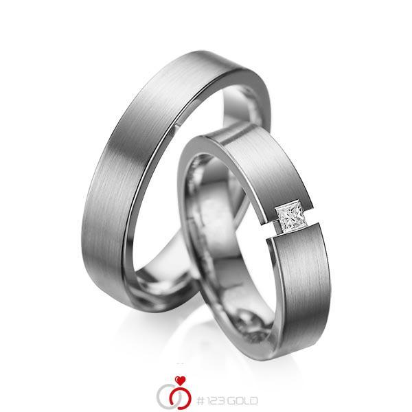 Set klassieke trouwringen in dark grey gold 14 kt. met in totaal 0,1 ct. Princess-Diamant tw/si van acredo - A-1041-5