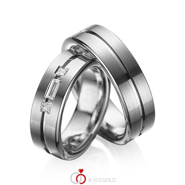 Set Klassieke trouwringen in dark grey gold 14 kt. met in totaal 0,22 ct. Baguette-Diamant & Princess-Diamant tw,vs van acredo - A-1011-5