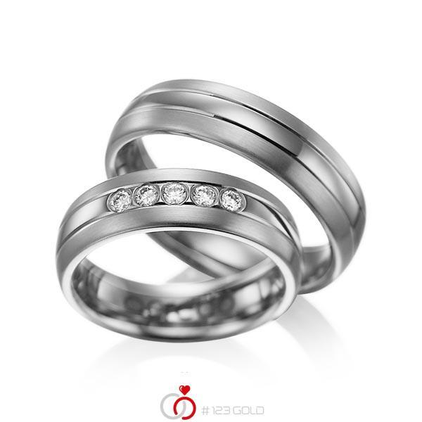 Set Klassieke trouwringen in dark grey gold 14 kt. met in totaal 0,2 ct. Briljant tw/si van acredo - A-1001-12
