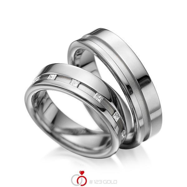 Set Klassieke trouwringen in dark grey gold 14 kt. met in totaal 0,36 ct. Princess-Diamant tw/si van acredo - A-1024-5