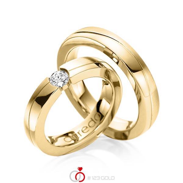 Set Klassieke trouwringen in geelgoud 14 kt. met 0,3 ct. Briljant tw,vs van acredo - A-1119-10