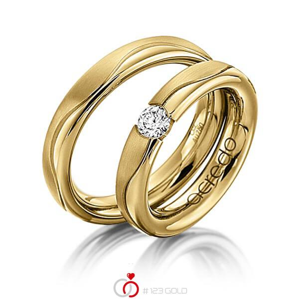 Set Klassieke trouwringen in geelgoud 14 kt. met 0,3 ct. Briljant tw/si van acredo - A-1120-11