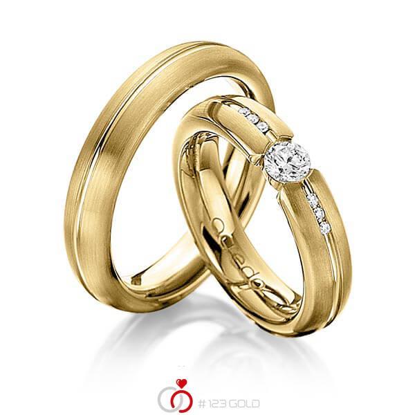 Set Klassieke trouwringen in geelgoud 14 kt. met 0,3 ct. + in totaal 0,048 ct. Briljant tw,vs tw/si van acredo - A-1122-11