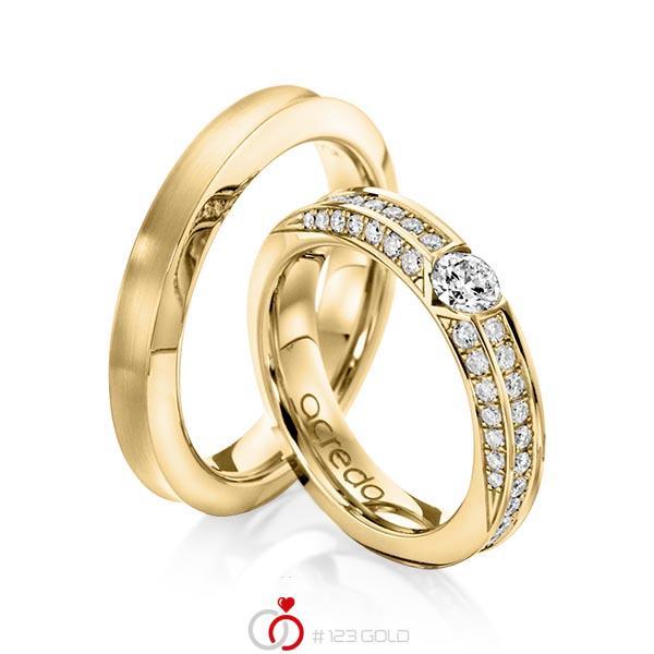 Set klassieke trouwringen in geelgoud 14 kt. met 0,3 ct. + in totaal 0,902 ct. Briljant tw/si van acredo - A-1117-5