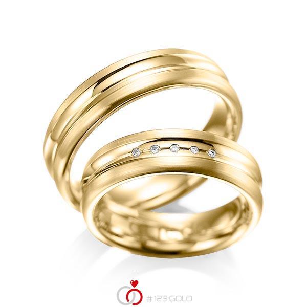Set Klassieke trouwringen in geelgoud 14 kt. met in totaal 0,025 ct. Briljant tw/si van acredo - A-1048-3