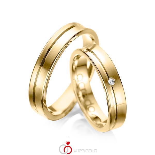 Set Klassieke trouwringen in geelgoud 14 kt. met in totaal 0,02 ct. Briljant tw/si van acredo - A-1042-2
