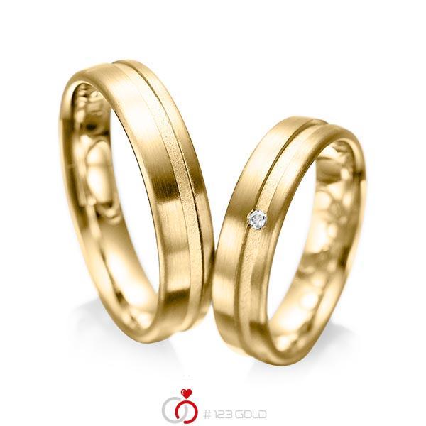Set Klassieke trouwringen in geelgoud 14 kt. met in totaal 0,02 ct. Briljant tw/si van acredo - A-1044-4