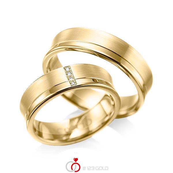 Set Klassieke trouwringen in geelgoud 14 kt. met in totaal 0,02 ct. Briljant tw/si van acredo - A-1053-9