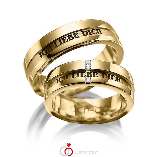 Set Klassieke trouwringen in geelgoud 14 kt. met in totaal 0,03 ct. Briljant tw/si van acredo - A-1032-9