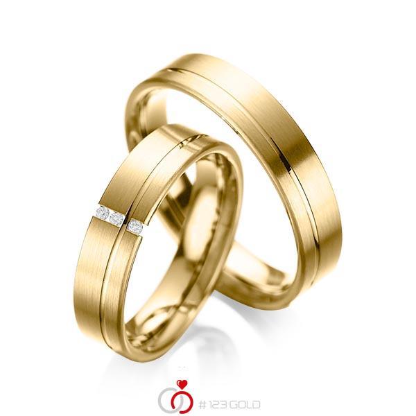 Set Klassieke trouwringen in geelgoud 14 kt. met in totaal 0,03 ct. Briljant tw/si van acredo - A-1037-10