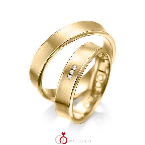 Set Klassieke trouwringen in geelgoud 14 kt. met in totaal 0,03 ct. Briljant tw/si van acredo - A-1055-9