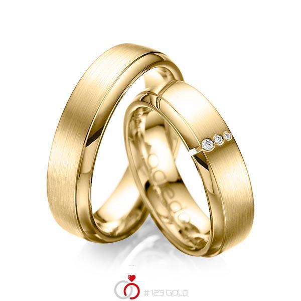 Set Klassieke trouwringen in geelgoud 14 kt. met in totaal 0,03 ct. Briljant tw/si van acredo - A-1067-9