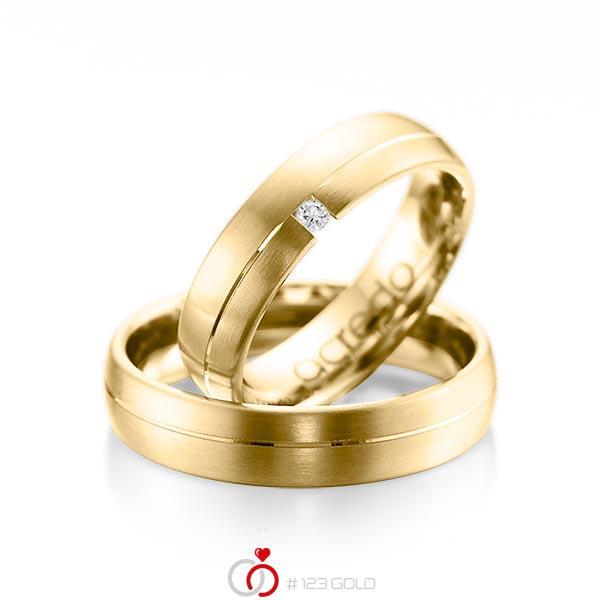 Set Klassieke trouwringen in geelgoud 14 kt. met in totaal 0,03 ct. Briljant tw/si van acredo - A-1070-8