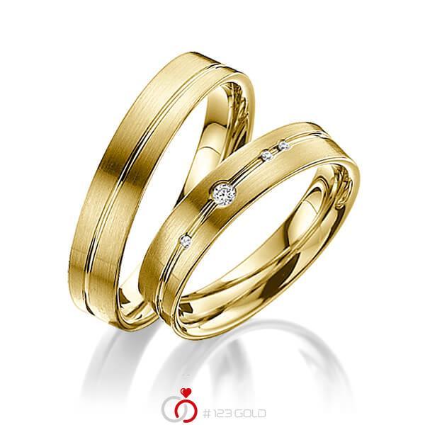 Set Klassieke trouwringen in geelgoud 14 kt. met in totaal 0,045 ct. Briljant tw/si van acredo - A-3007-4