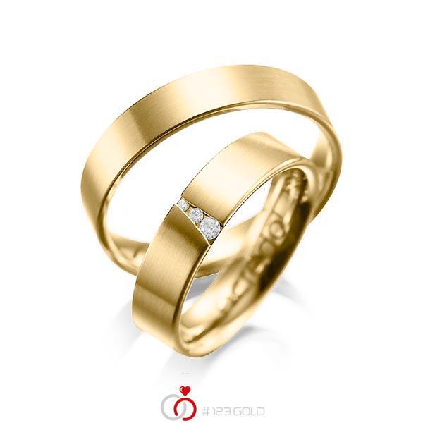 Set klassieke trouwringen in geelgoud 14 kt. met in totaal 0,04 ct. Briljant tw/si van acredo - A-1046-1