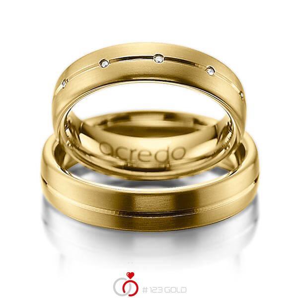Set Klassieke trouwringen in geelgoud 14 kt. met in totaal 0,055 ct. Briljant tw/si van acredo - A-1013-1