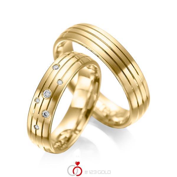 Set Klassieke trouwringen in geelgoud 14 kt. met in totaal 0,055 ct. Briljant tw/si van acredo - A-1016-4