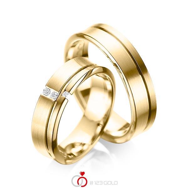 Set Klassieke trouwringen in geelgoud 14 kt. met in totaal 0,05 ct. Briljant tw/si van acredo - A-1088-4