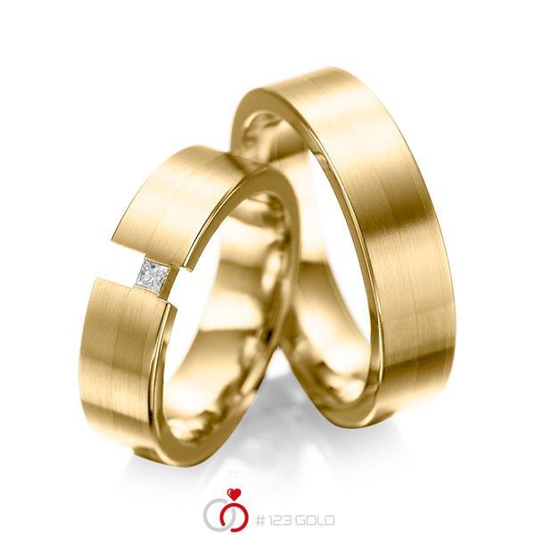 Set klassieke trouwringen in geelgoud 14 kt. met in totaal 0,05 ct. Princess-Diamant tw/si van acredo - A-1025-13