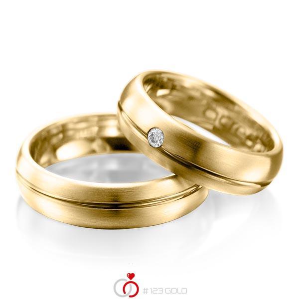 Set Klassieke trouwringen in geelgoud 14 kt. met in totaal 0,06 ct. Briljant tw/si van acredo - A-1003-6