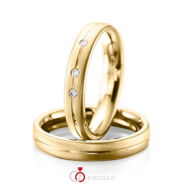Set Klassieke trouwringen in geelgoud 14 kt. met in totaal 0,06 ct. Briljant tw/si van acredo - A-1086-8
