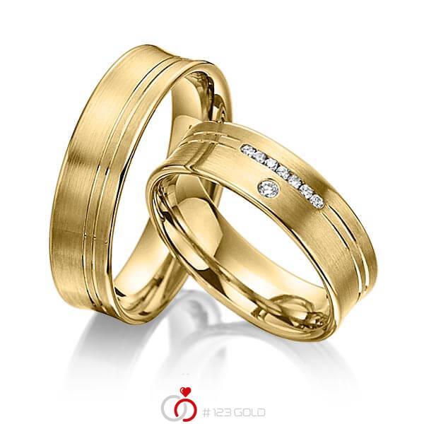 Set Klassieke trouwringen in geelgoud 14 kt. met in totaal 0,076 ct. Briljant tw/si van acredo - A-3014-4