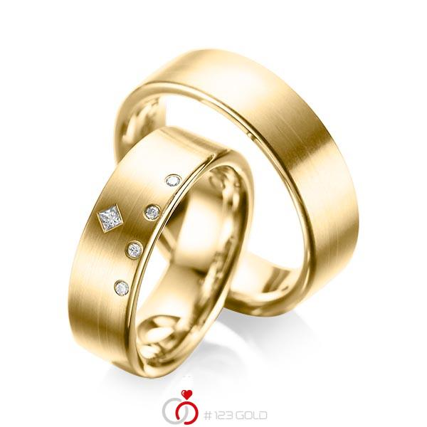 Set klassieke trouwringen in geelgoud 14 kt. met in totaal 0,07 ct. Briljant & Princess-Diamant tw/si tw,vs van acredo - A-1038-4