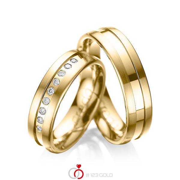 Set Klassieke trouwringen in geelgoud 14 kt. met in totaal 0,135 ct. Briljant tw/si van acredo - A-1006-4