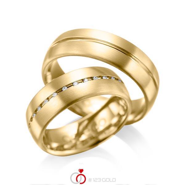 Set Klassieke trouwringen in geelgoud 14 kt. met in totaal 0,145 ct. Briljant tw/si van acredo - A-1012-5