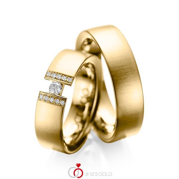 Set klassieke trouwringen in geelgoud 14 kt. met in totaal 0,15 ct. Briljant tw/si van acredo - A-1033-1