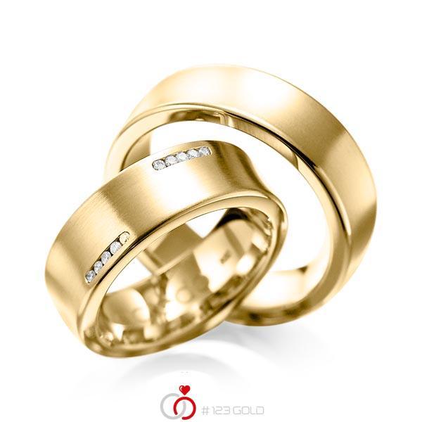 Set klassieke trouwringen in geelgoud 14 kt. met in totaal 0,15 ct. Briljant tw/si van acredo - A-1094-4