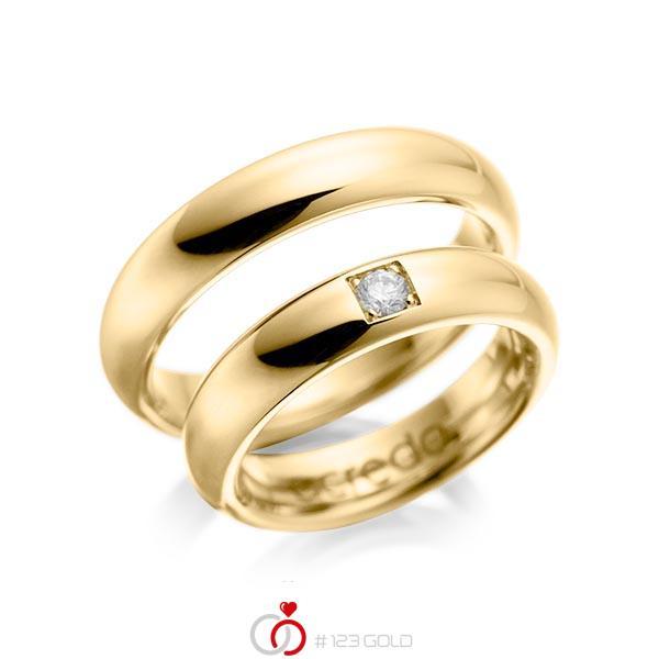 Set klassieke trouwringen in geelgoud 14 kt. met in totaal 0,1 ct. Briljant tw/si van acredo - A-1028-1
