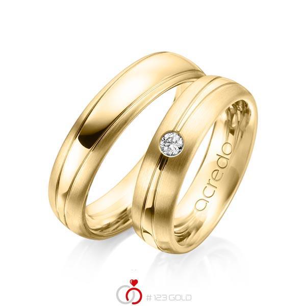 Set Klassieke trouwringen in geelgoud 14 kt. met in totaal 0,1 ct. Briljant tw/si van acredo - A-1149-5