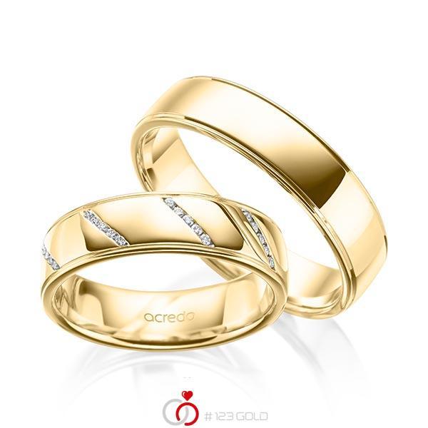 Set Klassieke trouwringen in geelgoud 14 kt. met in totaal 0,225 ct. Briljant tw/si van acredo - A-2006-6